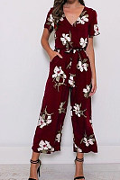V Neck  Printed  Short Sleeve Jumpsuits