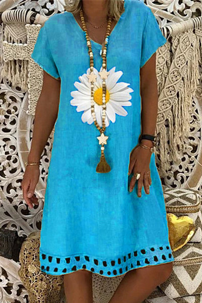 V-neck fashion sun flower casual dress