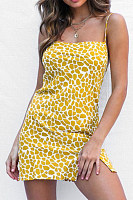 Spaghetti Strap  Slit  Printed  Sleeveless Bodycon Dresses