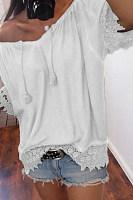 Open Shoulder  Patchwork  Plain T-Shirts