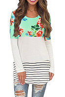 Round Neck  Floral Patchwork Striped Casual Dresses
