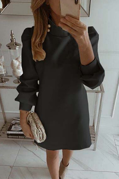 Short High Collar Plain Casual Dress