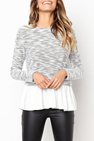 Crew Neck  Tiered  Patchwork  Sweaters