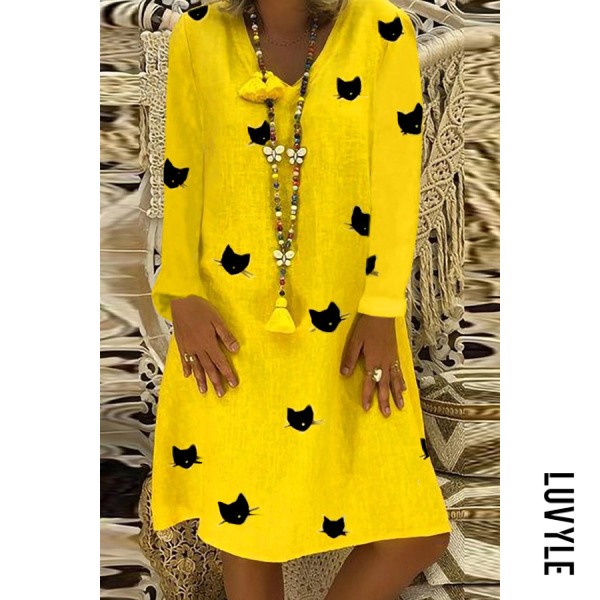 Yellow Casual V Neck Long Sleeve Printed Mini Dress Yellow Casual V Neck Long Sleeve Printed Mini Dress