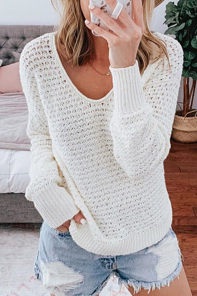 V Neck Long Sleeve Loose-Fitting Plain Sweater