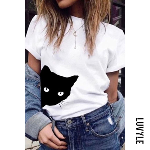 White Round Neck Print Short Sleeve T-Shirts White Round Neck Print Short Sleeve T-Shirts