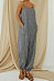 Cotton And Linen Stripes Adjustable Shoulder Strap Casual Jumpsuit