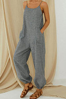 Cotton And Linen Stripes Adjustable Shoulder Strap Casual Jumpsuit