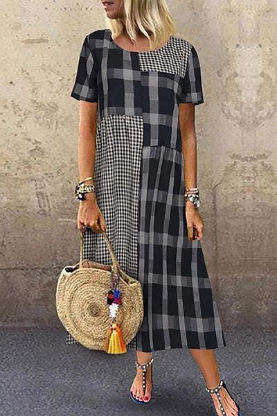 Casual Plaid Patchwork Short Sleeve Dress