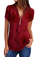 V Neck Print Short Sleeve Blouse