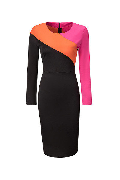 Round Neck  Slit  Color Block Bodycon Dress