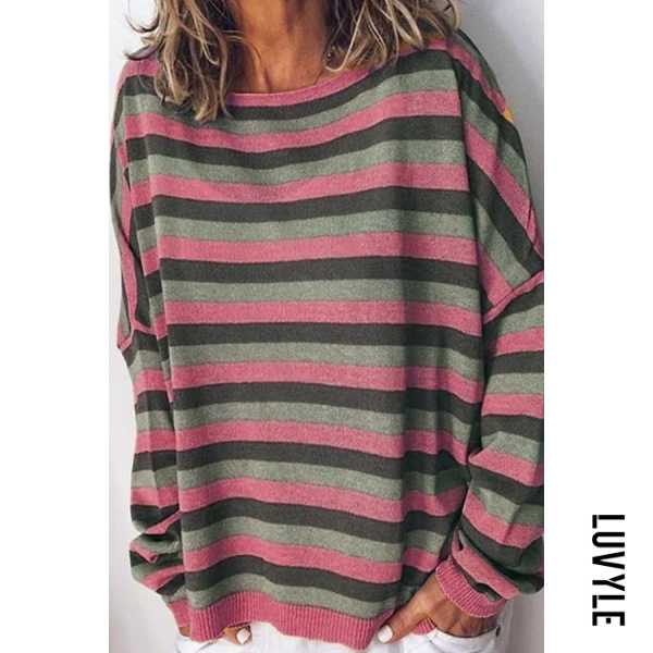 Pink Round Neck Striped Casual Hoodies Pink Round Neck Striped Casual Hoodies