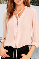Tie Collar  Single Breasted  Plain  Blouses