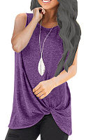 Round Neck  Asymmetric Hem  Plain Sleeveless T-Shirts