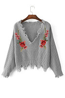 V Neck  Tassel  Exposed Navel  Floral Sweaters