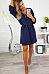 V Neck  Belt  Plain  Long Sleeve Casual Dresses