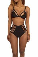 Spaghetti Strap  Lace Up  Hollow Out Plain Bikini