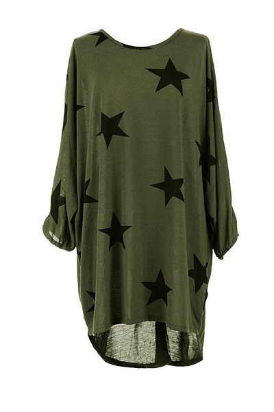 Round Neck  Asymmetric Hem Loose Fitting  Star  Three Quarter Sleeve Casual Dresses