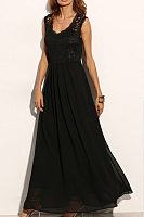 Round Neck  Patchwork  Plain  Sleeveless Maxi Dresses