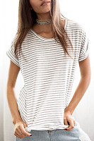 Crew Neck  Stripes Casual  T-Shirts