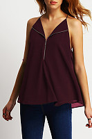 Spaghetti Strap V Neck  Backless Zipper  Plain T-Shirts