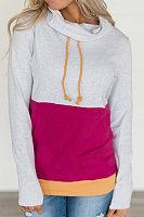 Cowl Neck  Drawstring  Patchwork  Sweatshirts