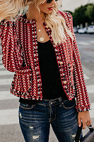 Band Collar  Single Breasted  Vertical Striped Outerwear