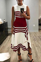 Round Neck Sleeveless Striped Maxi Dress