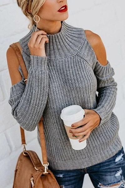 Shoulder Collar Long Sleeve Plain Sweater