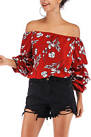 Open Shoulder  Leopard  Blouses