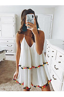 Deep V-Neck  Flounce Fringe  Plain Shift Dresses