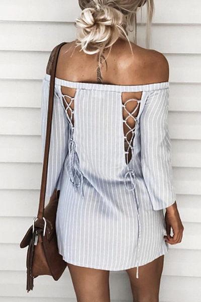 Off Shoulder  Cross Straps  Back Hole  Vertical Striped Casual Dresses