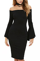 Off Shoulder  Zipper  Bell Sleeve  Long Sleeve Bodycon Dresses