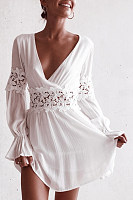 Deep V Neck  Decorative Lace  Plain  Long Sleeve Skater Dresses