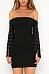 Off Shoulder  Backless  Plain  Long Sleeve Bodycon Dresses