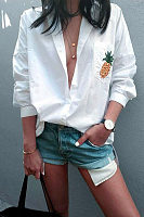 Turn Down Collar  Single Breasted  Printed  Blouses