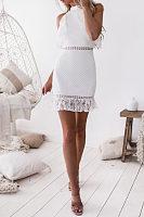 High Neck  Lace Patchwork Plain  Sleeveless Bodycon Dresses
