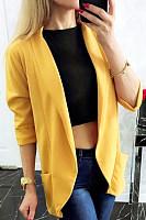 Fold-Over Collar Plain Blazer