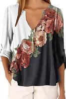 V Neck Floral Print Long Sleeve Blouse