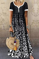 V-Neck Patch Pocket Floral Printed Maxi Dress