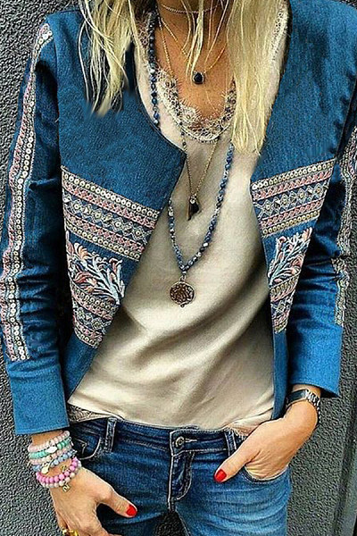 Band Collar  Printed Jackets
