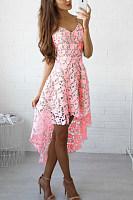 Spaghetti Strap  Asymmetric Hem  Plain  Sleeveless Skater Dresses