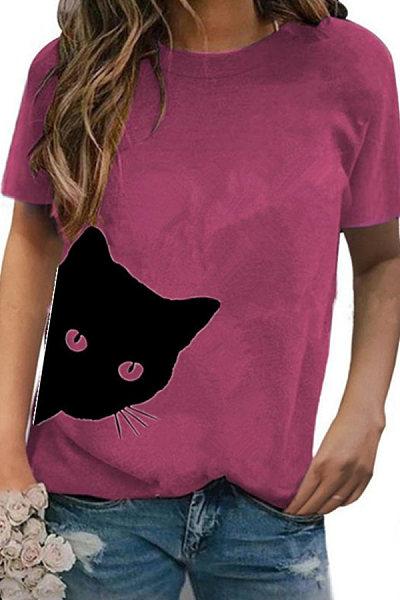 Round Neck Cat Print Short Sleeve T-shirt