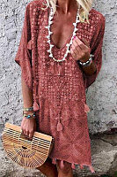V Neck Short Sleeve Bohemian Casual Dress