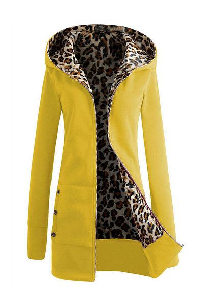 Hooded  Zipper  Leopard Hoodies