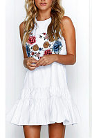 Round Neck  Floral Printed  Sleeveless Casual Dresses