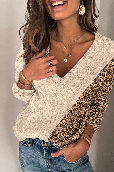 Fashion V-collar splicing leopard-print sweater