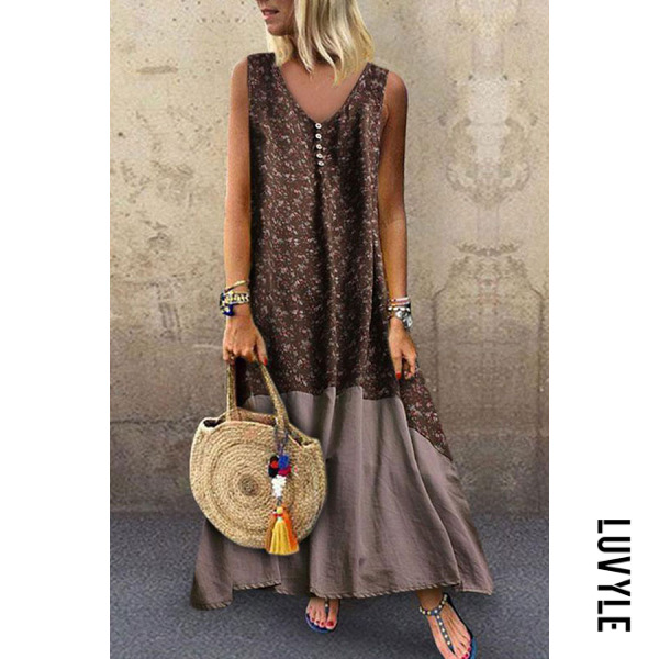 Brown V Neck Patchwork Sleeveless Maxi Dresses Brown V Neck Patchwork Sleeveless Maxi Dresses