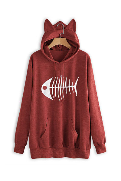 Casual Long Sleeve Fish Hoodies
