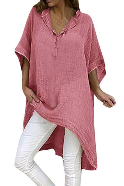 V Neck  Asymmetric Hem  Plain T-Shirts